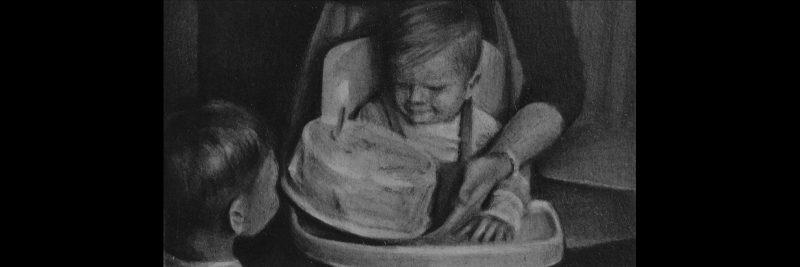 Susannah Douglas   Birthday 1 (footage still 2)   2016   Pencil & ink on paper   4.5x8cm