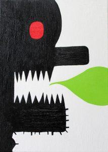 Alex Gene Morrison | Teeth Speak Green | 2016 | Oil on canvas | 42x30cm