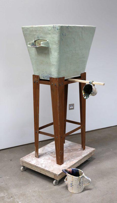 Eva Masterman | Used | 2016 | Glazed ceramic, kiln props, steel | 150x60x70cm