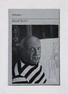 Hugh Mendes | Obituary: Rene Burri (Picasso) | 2015 | Oil on linen | 35x25cm