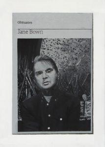 Hugh Mendes | Obituary: Jane Bown (Bacon) | 2015 | Oil on linen | 35x25cm