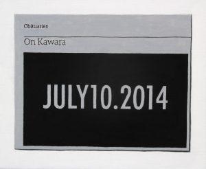 Hugh Mendes | Obituary: On Kawara | 2014 | Oil on linen | 25x30cm