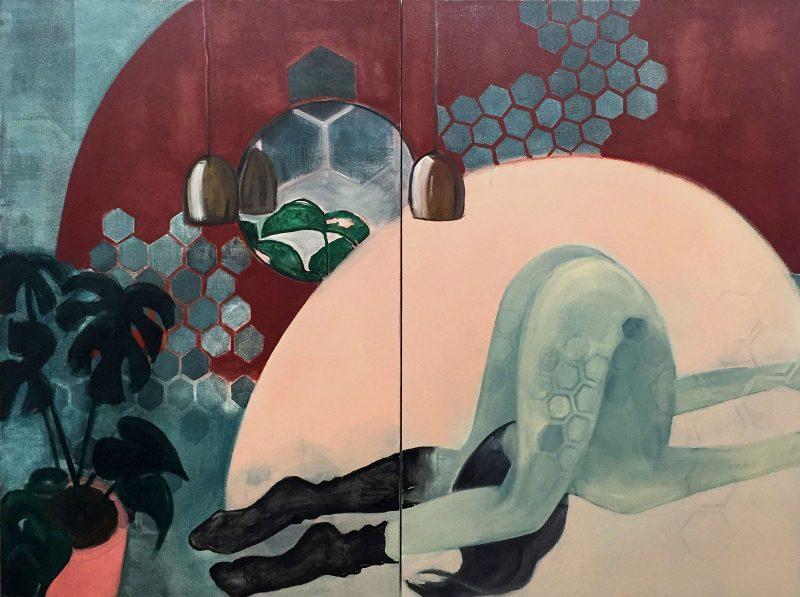 Sara Berman | Naked Yoga | 2016 | Oil on linen | 120x160cm