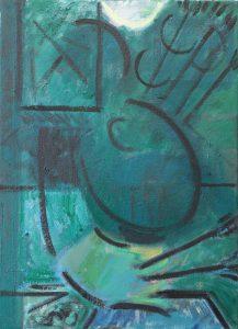Kiera Bennett | Painter as Don Quixote (Blue) | 2016 | Oil on canvas | 55x40cm