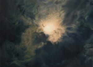 Barry Thompson   No birds, no birds, the sky is, swollen black   2015   Oil on panel   11.5x18cm