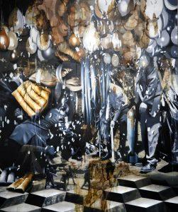 Michal Mraz   Tree planting   2017   Oil, acrylic, asphalt on canvas   180x150cm
