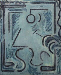 Kiera Bennett | Studio Face (All Blue) | 2017 | Oil on canvas | 55x45cm