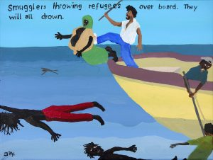 Jay Rechsteiner   Bad Painting number 55: Smugglers throwing refugees over board. They will all drown   2017   Acrylic on canvas   22.7×30.5cm