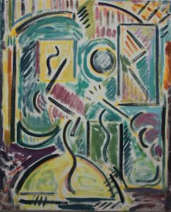 Kiera Bennett | Studio Face and Brush | 2017 | Oil on canvas | 55x45cm