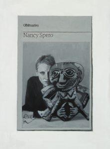Hugh Mendes | Obituary: Nancy Spero | 2015 | Oil on linen | 35x25cm