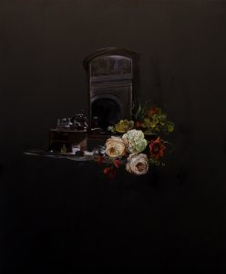 Emma Bennett | A scene foreseen | 2018 | Oil on oak panel | 34x28cm