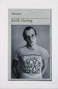 Hugh Mendes | Obituary: Keith Haring | 2018 | Oil on linen | 30x20cm
