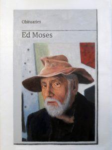 Hugh Mendes   Obituary: Ed Moses   2018   Oil on linen   30x20cm