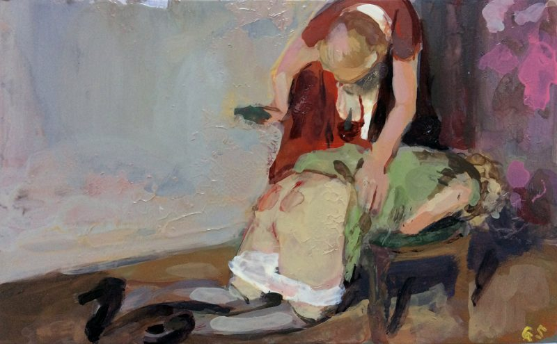 Geraldine Swayne | Using a hairbrush | 2014 | Enamel on aluminium | 8x12cm