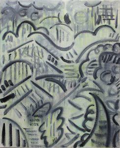 Kiera Bennett | Plein Air (Black Lines) | 2018 | Oil on canvas | 55x45cm