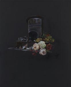Emma Bennett | A scene foreseen | 2018 | Oil on oak panel | 34x28cm