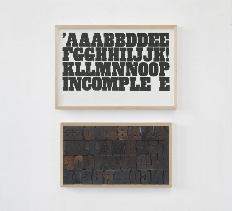 Pavel Büchler   AAABBDDEE   2018 Letterpress from an incomplete set of type on Arches 88 paper   Dimensions Variable, set of type (unique)