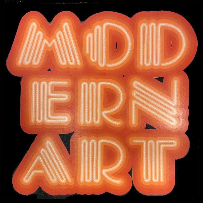 Ben Eine | Modern Art Neon Front | 2015 | 7 layer stencil spray-paint on canvas | 100x100cm