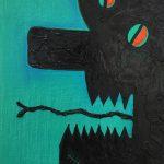 Alex Gene Morrison | Green Blue Chin And Eye Scar Orange | 2018 | Oil on canvas | 35x25cm