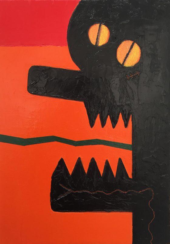 Alex Gene Morrison | Orange Red Snake Tongue Tattoo (Jaw) | 2018 | Oil on linen | 35x25cm