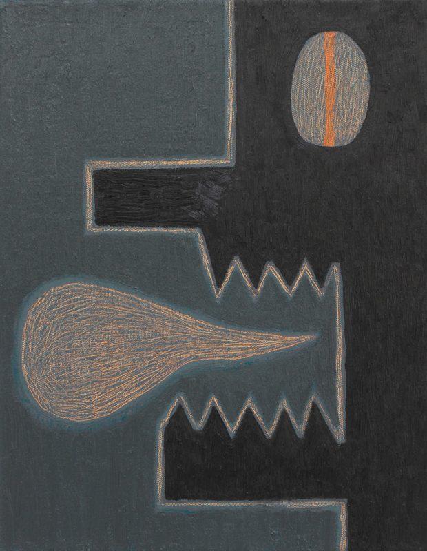Alex Gene Morrison | Orange Speak (Grey Ground) | 2018 | Oil on canvas | 45x35cm