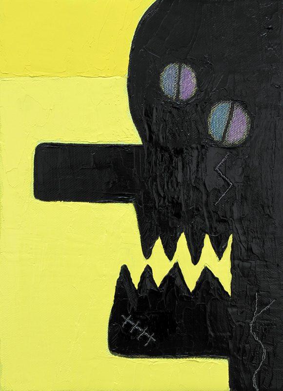 Alex Gene Morrison | Snake Tongue Neck Tattoo (Yellow, black, blue and purple eyes) | 2018 | Oil on canvas | 35x25cm