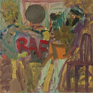 Matthew Collings | RAF Punch Up 1945 | 2017 | Oil on canvas | 38.1×38