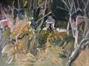 Matthew Collings | Three Painters Painting in Trees | 2018 | Oil on canvas | 60x80cm