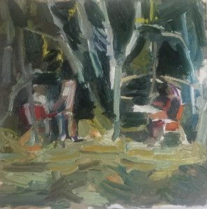 Matthew Collings | Two Painters Painting in Trees | 2018 | Oil on canvas | 40x40cm