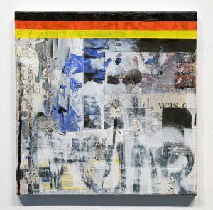 Zavier Ellis & Hendrik Zimmer | Gold Standard: Freedom | 2017 | Oil, acrylic, emulsion, spray paint, collage, mixed media on canvas | 30x30cm