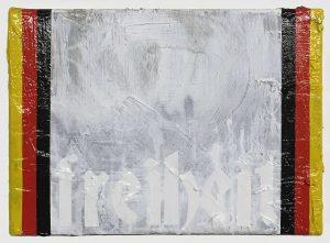 Zavier Ellis | Freiheit | 2018 | Oil, acrylic, spray paint, house paint and collage on canvas | 25.5x35cm
