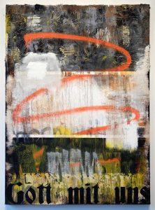 ZAvier Ellis | 2017 | Oil, acrylic, spray paint, emulsion, gloss, collage | 140x100cm
