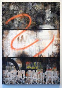 Zavier Ellis | This Deathly Love | 2017 | Oil, acrylic, spray paint, emulsion, gloss, collage | 140x100cm
