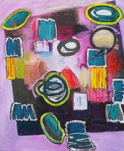 Maz Presneill | RD199 | 2018 | Oil, spray paint on canvas | 152.4×121.9cm