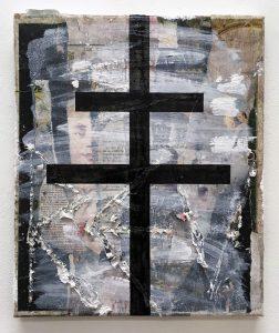 Zavier Ellis | Revolt | 2018 | Oil, house paint, collage on canvas | 30x25cm