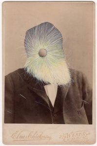 Tom Butler   (Ten Elmers) Cheeky Elmer   2018   Gouache on Albumen print   16.5×10.8cm