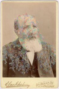 Tom Butler   (Ten Elmers) Triangular Elmer   2018   Gouache on Albumen print   16.5×10.8cm