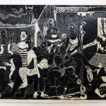 Alexi Marshall | The Party | 2018 | Linocut on Japanese paper (e.d 5) | 200x290cm
