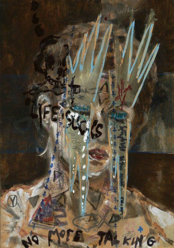 Sam Jackson | No more talking | 2018 | Oil, marker on board | 32x22cm