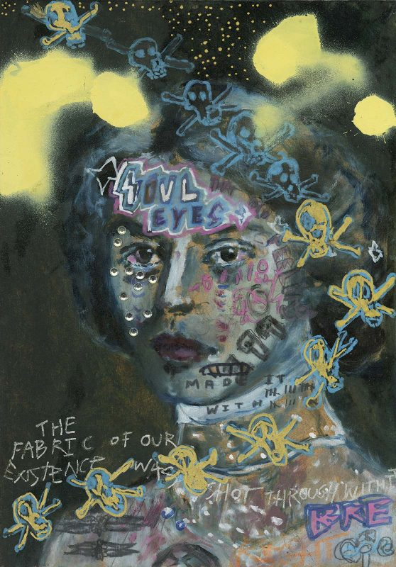 Sam Jackson | Soul Eyes | 2019 | Oil, spray paint, marker, pencil on board | 32x22cm