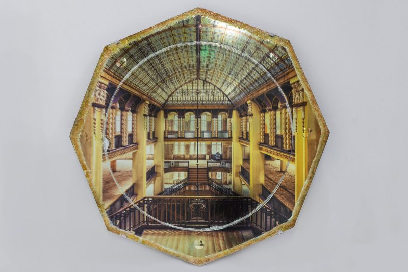 Gina Soden | Grand Hotel on Mirror | 2018 | Photograph hand printed on antique mirror with 24 carat gold leaf, ink & craquelure with an acrylic seal | 46x46cm