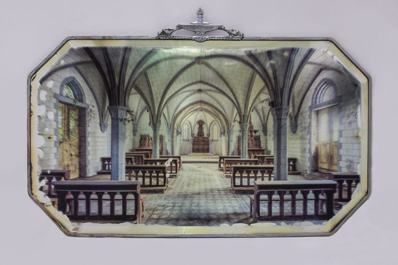 Gina Soden | Abandoned Church on Antique Mirror | 2018 | Photograph hand printed onto antique mirror with acrylic seal | 35x65cm