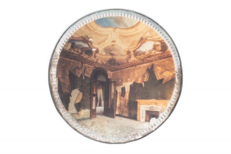 Gina Soden | Baroque Villa on Foxed Mirror | 2018 | Photograph hand printed onto antique mirror with acrylic seal | 22cm diameter