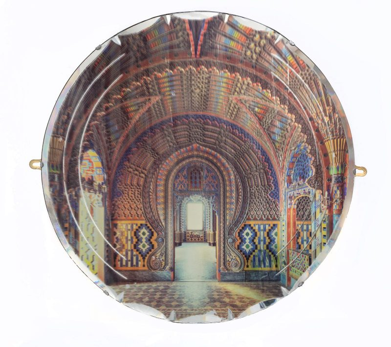 Gina Soden | Peacock Castle on Mirror | 2019 | Photograph hand printed onto antique mirror with acrylic seal | 50cm diameter