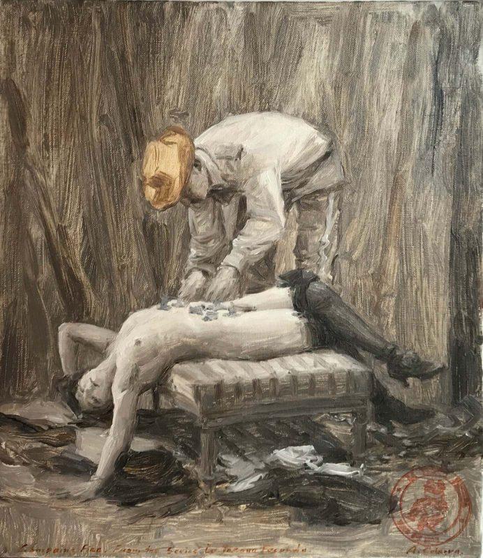 Ariel Cabrera Montejo | Costumbres de la Tregua Fecunda | 2016 | Oil on canvas | 35.5×30.5cm