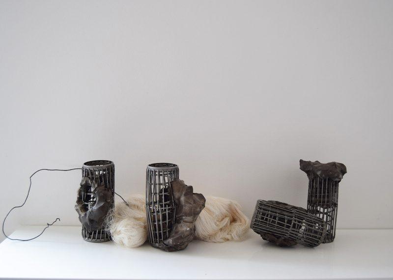 Javier Torras Casas | Embedded | 2018 | Clay, wax and found objects | 16x80x20cm