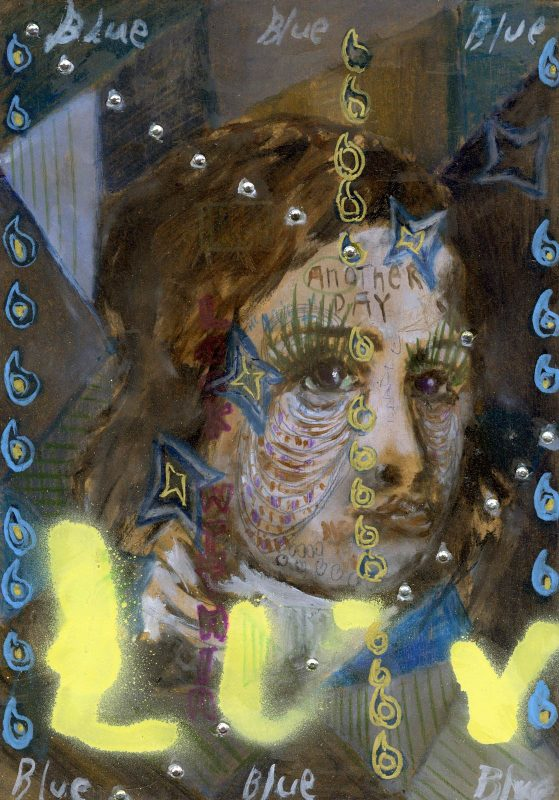 Sam Jackson | Almost Blue | Oil, marker, pencil, spray paint, diamanté on board | 32x22cm