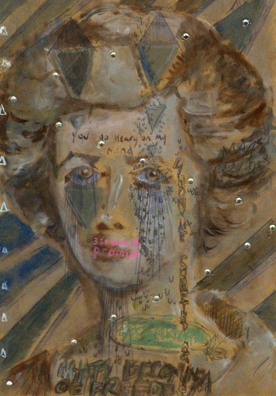 Sam Jackson | Fade Into You | 2019 | Oil, marker, pencil, diamanté on board | 32x22cm
