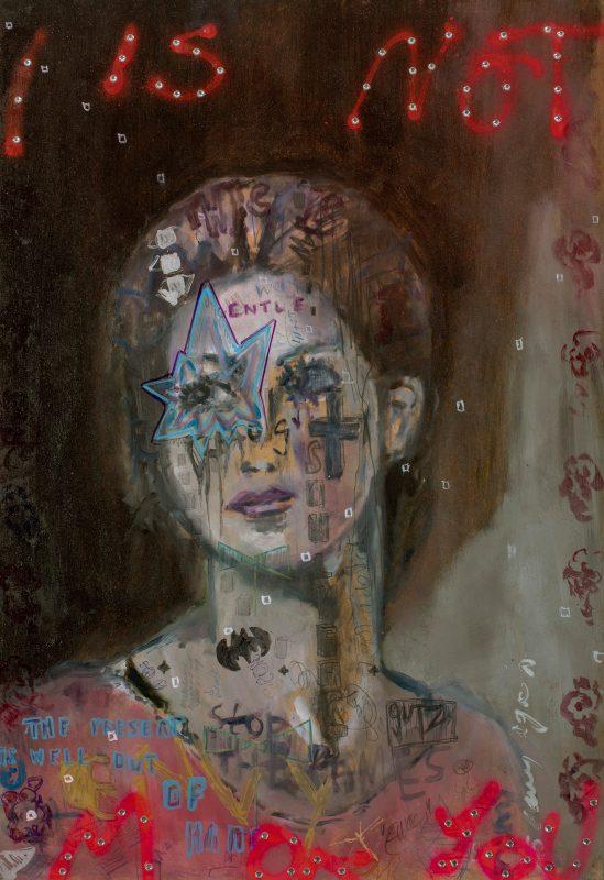 Sam Jackson | I've Got A Question Everytime I Hold You | 2019 | Oil, marker, pencil, spray paint, diamanté on board | 64x44cm
