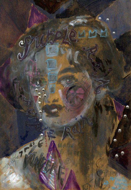 Sam Jackson | Purple Rain | 2019 | Oil, marker, pencil, diamanté on board | 32x22cm